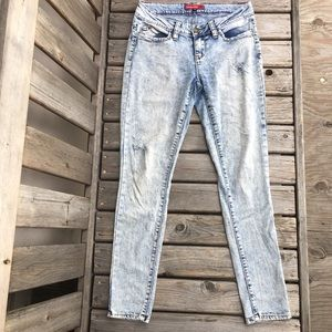 YMI Acid Wash Distressed Skinny Jeans